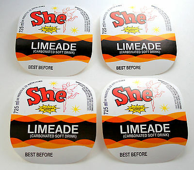 Set of 4 She Limeade Soda Soft Drink Bottle Label NOS 1970s Fairy