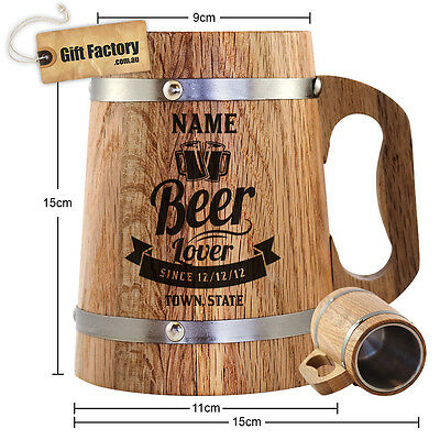 Oak Beer Mug - Tankard - Stein - A  Great Personalised Xmas Gift For Men