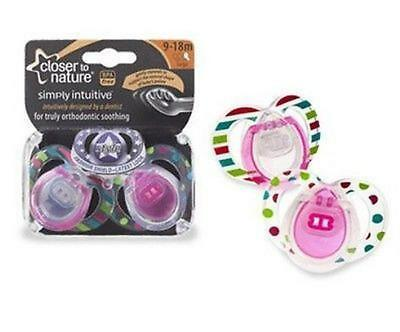 Closer to Nature Two-Pack Dummies Pacifiers 9 - 18 Months (Pink)