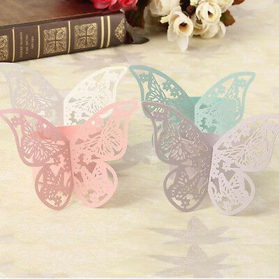 Hot 50Pcs Butterfly Napkin Ring Paper Holder Table Party Wedding Decor