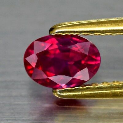6x4mm Oval 1pc AAAAA Natural Rich Red Ruby, Mozambique