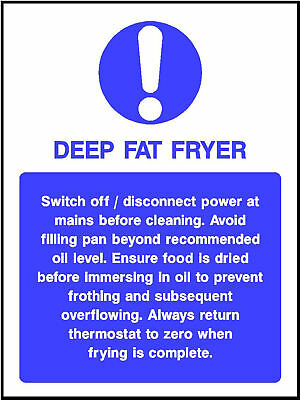 3 X QTY 130 x 90 mm deep fat fryer vinyl sign catering cafe hotel kitchen