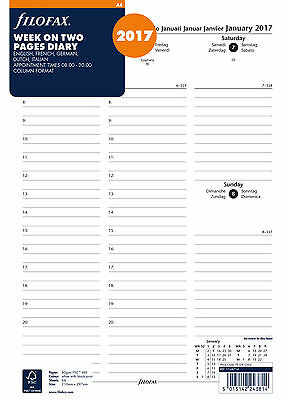 Filofax A4 Week On Two Pages 5 Lang Column Format Appointments 2017 Diary Refill