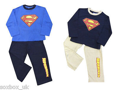 Boys Superman Pyjamas, 100% Cotton - Long sleeves and bottoms, All Sizes