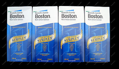 4 Pack Bausch & Lomb BOSTON SIMPLUS 120ml contact lens solution ** EXP 02/19 **