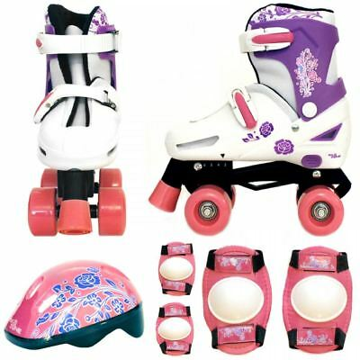 Girls Pink White Quad Skates Padded Kids Roller Boots Safety Pads Helmet Set New