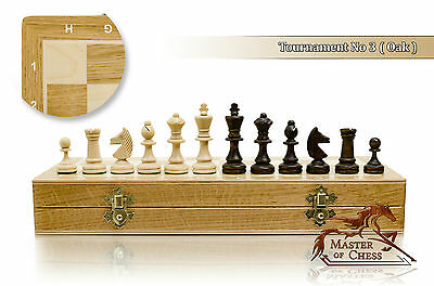 "Great TOURNAMENT No.3 OAK 35cm / 13.8"" Wooden Chess Set Staunton Figures"