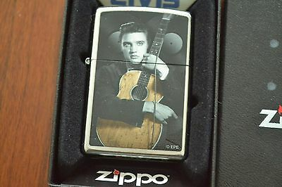 ZIPPO Lighter, Elvis Presley with Guitar, Polished Chrome, Sealed, M507