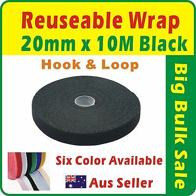 20mm x 10M Black Reuseable Magic Cable Ties Wrap Strap Hook & Loop