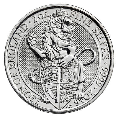 2016 Great Britain 5 Pound 2 Oz Silver Queen's Beast Lion SKU41711