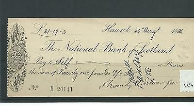 wbc. - CHEQUE - CH119 - USED -1880s - NATIONAL BANK of SCOTLAND, HAWICK