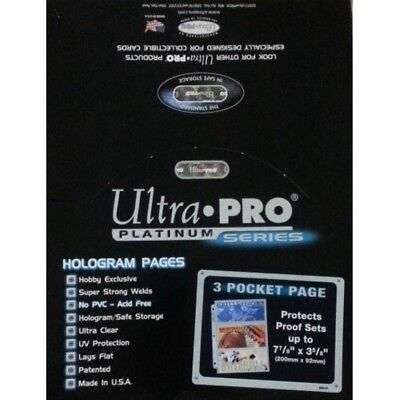 25 Ultra Pro Platinum Hologram 3-Pocket Page for 3-1/2x7-1/2 for Currency