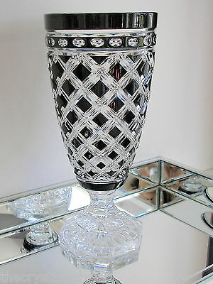 Ajka Hungary Athenee Black Onyx Cased Cut To Clear Crystal Tall Vase