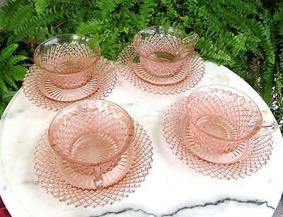 Lovely Set Of 4 Anchor Hocking Pink Miss America Cups And Saucers #1