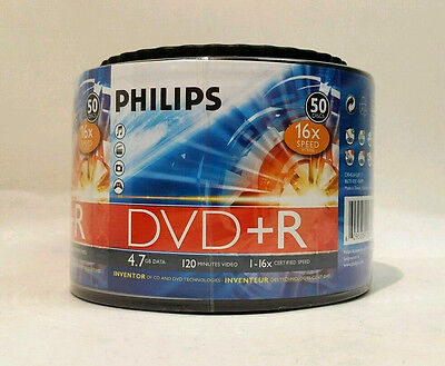 Philips Certified 16xSpeed 4.7GB Capacity 120 Minute DVD+R Media 50 Disc Pack