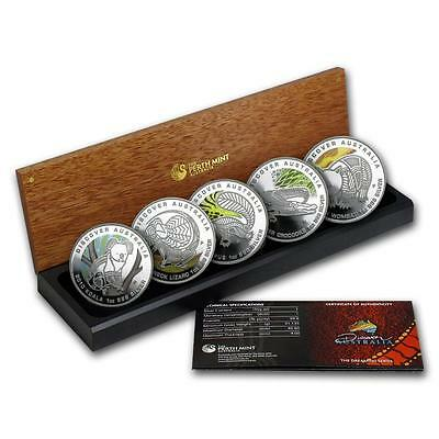 2010 Discover Australia Dreaming 5 x $1 Silver Proof Coin Set