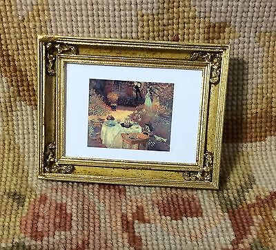 Pat Tyler Dollhouse Miniature Fine Art Framed Painting Picture Gold Frame p606