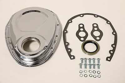 Chrome SB Chevy Timing Chain Cover Kit 327 350 383 400 SBC Gasket Seal Bolts Set