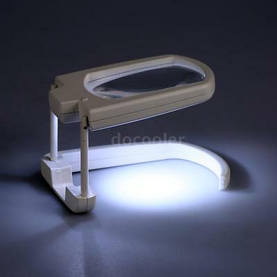 Portable 3X Magnifier Foldable Design with White LED Light Magnifying Tool F7E2