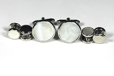 Tuxedo Shirt Stud Cufflink Set Silver Plate Real Mother of Pearl Multiple Opts