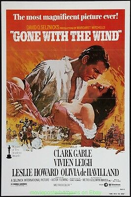 GONE WITH THE WIND MOVIE POSTER R1980 Folded 27x41 Near Mint CLARK GABLE