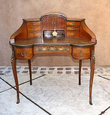 Magnificent 19C French Leather Top Lady's Desk With Bronze , 9 Drawers & Keys