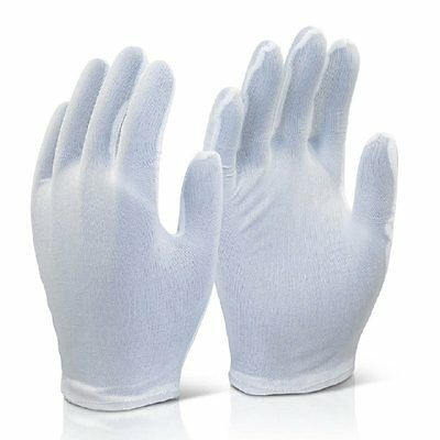 10 Pairs of Click 2000 White Nylon Inspection Gloves Gents Size 9 K10PA