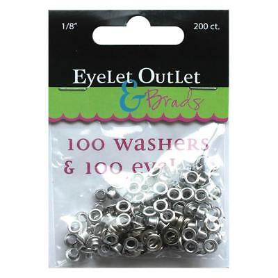 100 Eyelets & 100 Washers  1/8 inch  3mm silver chrome colour