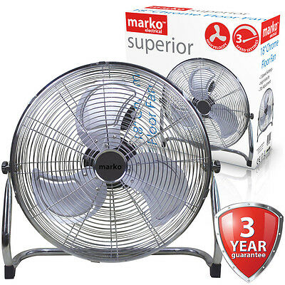 """18"""" Chrome Floor Fan High Velocity Portable Air Cooling 3 Speed Tilting Electric"""