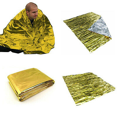 Foil Emergency Space Blanket Survival Thermal Rescue First Aid Gold RI