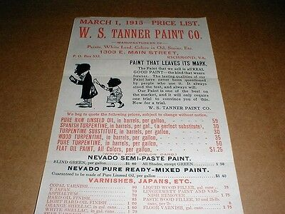 1915 original WS Tanner Paint Co Richmond VA Virginia vintage old store display
