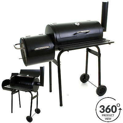 Large Smoker Charcoal BBQ Barbecue Grill Smoking Barrel Cooking Garden BBQ Grill