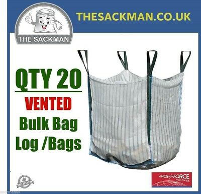 QTY 20 VENTED FIREWOOD LOG BULK BAGS 80x80x80cm SACK 1000KG VENTILATED WOVEN PP