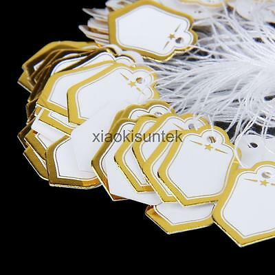 Price Tags White Golden Label String for Jewellery/Clothing 500PCS