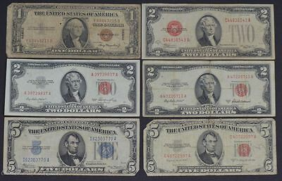 Mixed lot of Small Size U.S. Currency (6 Notes Total) VG-F /N-915