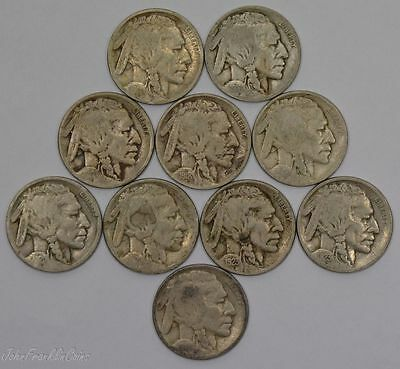 Mixed Dates of 5c Buffalo Nickels (Lot of 10 Coins) Good /N-940
