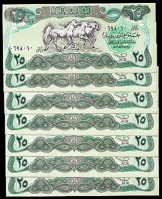 IRAQ 25 DINARS 1990 P 74b UNC LOT X 7 PCS