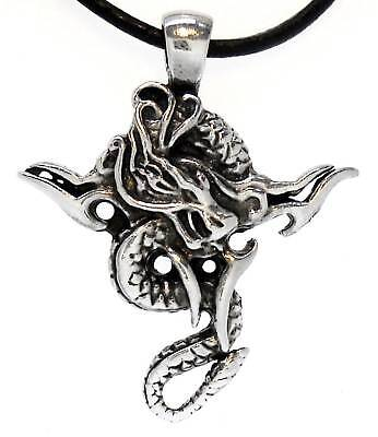 TRIBAL DRAGON Silver Pewter Pendant Leather CORD Surfer