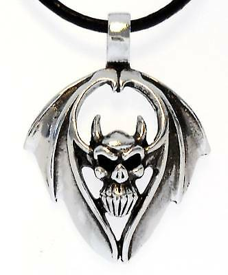 WINGED DEMON SKULL Silver Pewter Pendant Leather Surfer