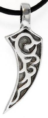 TRIBAL CLAW TALON Silver Pewter Pendant Leather Surfer