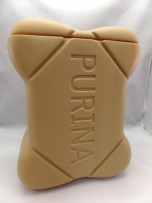 Vintage 80's Purina Biscuits Plastic Dog Bone Treat Container Canister