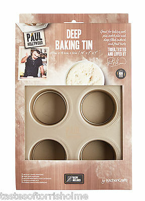 Paul Hollywood Bakeware Non Stick 6 Deep Hole Loose Base Pork Pie Baking Sheet