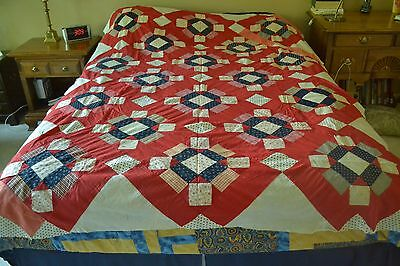 "Antique Fabrics in Hand-Stitched Patriotic Theme Quilt Top, 64""x84"", M61"