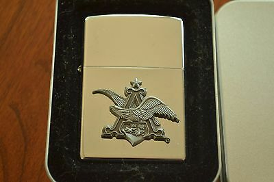 ZIPPO Lighter, Anheuser Busch 3-D Logo, 2002, Sealed M606