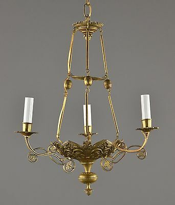 Period Antique Bronze c1880 Empire Chandelier Vintage Antique Gold Dore French L