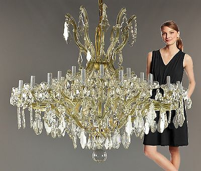 HUGE Marie Therese Crystal & Brass Chandelier c1940 Vintage Antique Ballroom Gol