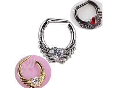 Surgical Steel Black Crystal Heart Angel Wings Septum Ring Clicker Nose Ring
