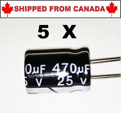 5PCS 470UF 25V 105°c Electrolytic Capacitor 8x12mm - Shipped From Canada