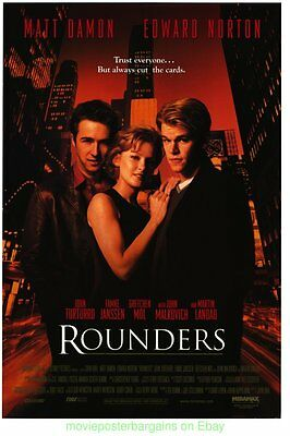 ROUNDERS MOVIE POSTER Original 27x40 One Sheet MATT DAMON EDWARD NORTON
