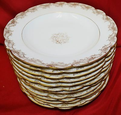 12 Antique 19thC Hand Decorated LS & S Limoges French Rimmed Soup Bowls